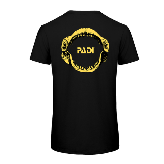 PADI Yellow Megalodon Black T-Shirt