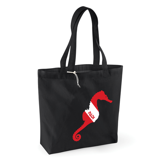 Sea Horse Black Tote Bag