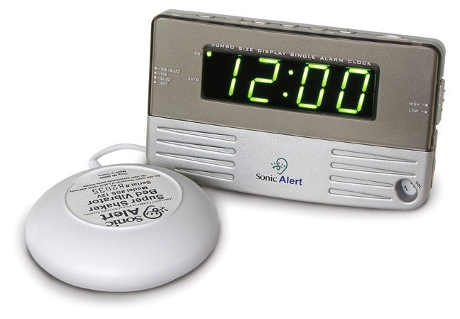 Sonic Boom Vibrating Travel Alarm Clock with Shaker Attachment
