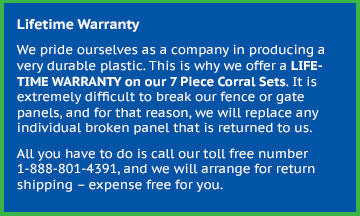Lifetime Warranty on our 7 Piece Toy Corral Fence Panel Set