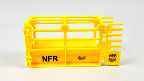 This is another side view of our PRCA yellow NFR Toy Roping Chute with gates open