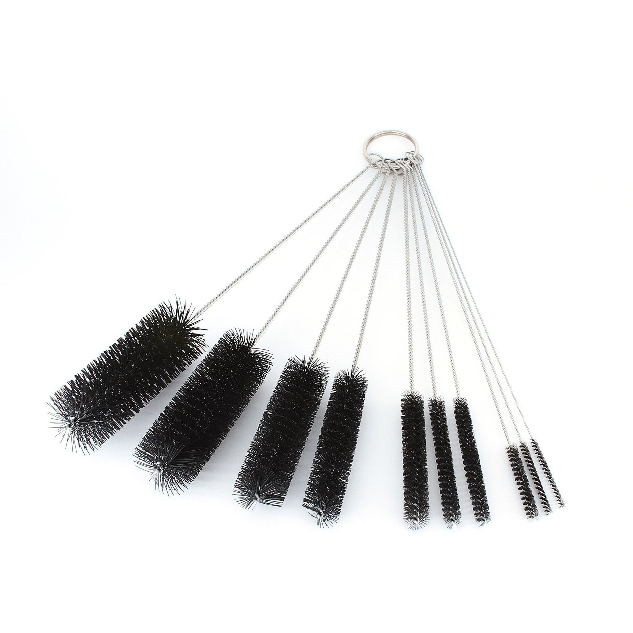 Pipe Cleaners - 8 Inch Nylon Tube Brush Set - Variety Pack 1 set of 10 pieces - WoodStonePipes.com   - 1