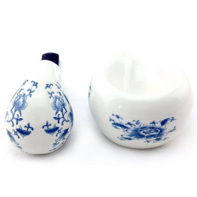 Ceramic Bent Apple Style Tobacco Pipe with Matching Pipe Stand