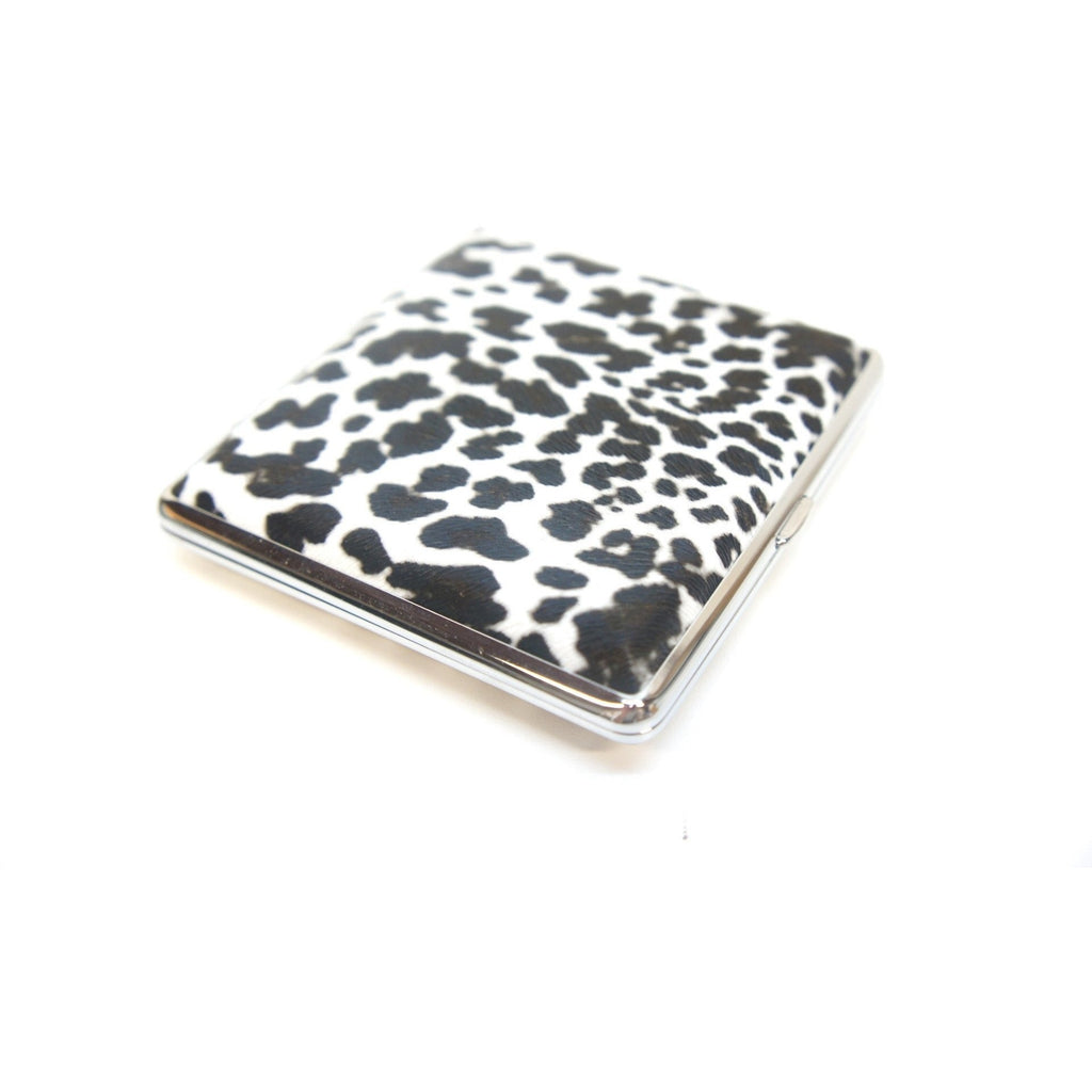 White Leopard Pattern Metal Cigarette Case Holder - WoodStonePipes.com   - 1