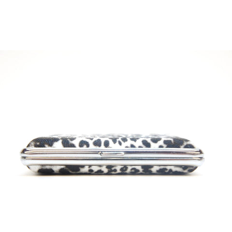 White Leopard Pattern Metal Cigarette Case Holder