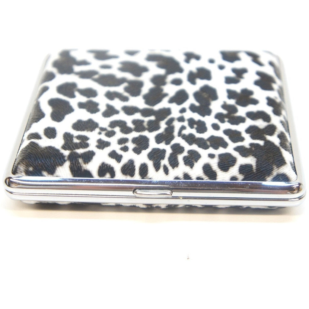 White Leopard Pattern Metal Cigarette Case Holder - WoodStonePipes.com   - 3