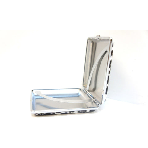 White Leopard Pattern Metal Cigarette Case Holder - WoodStonePipes.com   - 6