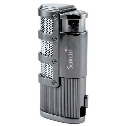 Triple Jet Flame Butane Torch Cigarette Cigar Lighter w/ Punch Cutter Tool - WoodStonePipes.com