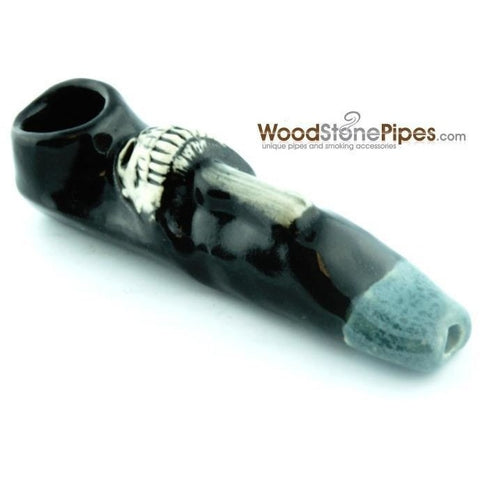 "3.5"" Unique Handmade Ceramic Pipe Mushroom Skull Design - WoodStonePipes.com   - 3"