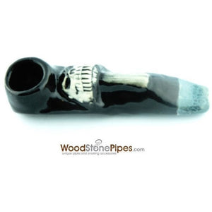 "3.5"" Unique Handmade Ceramic Pipe Mushroom Skull Design - WoodStonePipes.com   - 4"