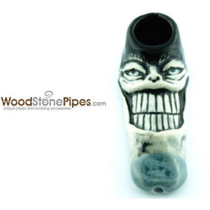 "3"" Unique Handmade Ceramic Pipe Big Grin Face Design - WoodStonePipes.com   - 4"