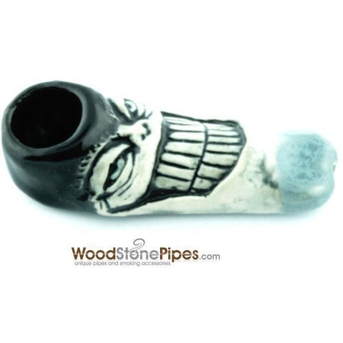 "3"" Unique Handmade Ceramic Pipe Big Grin Face Design - WoodStonePipes.com   - 2"
