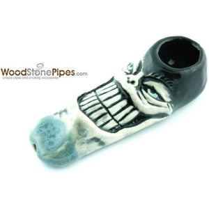 "3"" Unique Handmade Ceramic Pipe Big Grin Face Design - WoodStonePipes.com   - 3"
