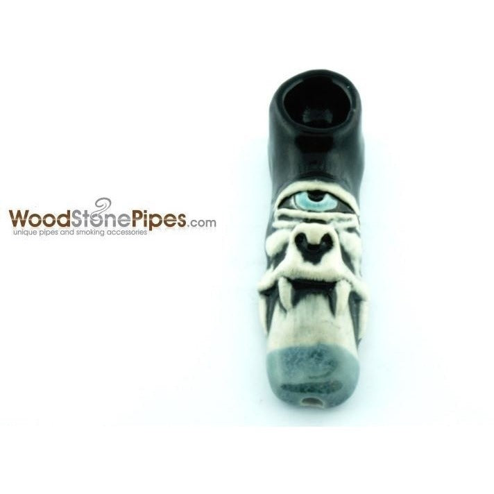 "3"" Unique Handmade Ceramic Pipe Cyclops Design - WoodStonePipes.com   - 1"