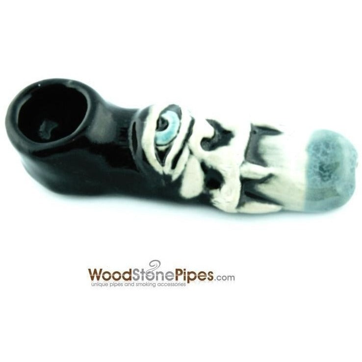 "3"" Unique Handmade Ceramic Pipe Cyclops Design - WoodStonePipes.com   - 4"