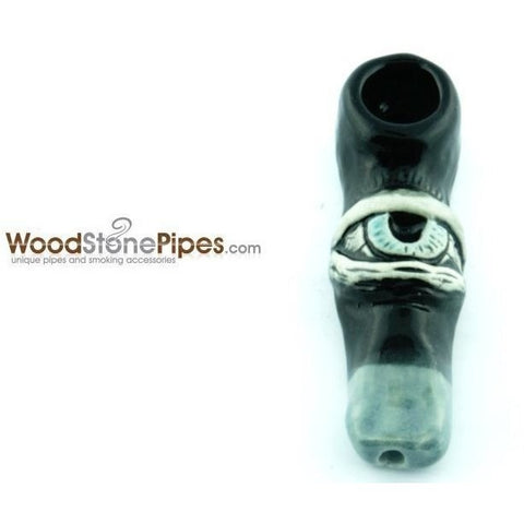 "3""  Unique Handmade Ceramic Pipe Large Eye Design - WoodStonePipes.com   - 1"
