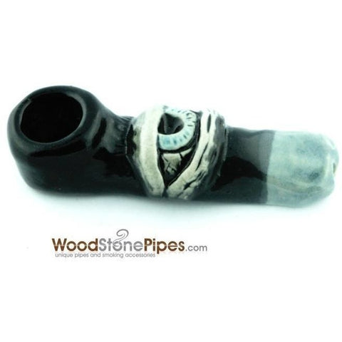 "3""  Unique Handmade Ceramic Pipe Large Eye Design - WoodStonePipes.com   - 2"