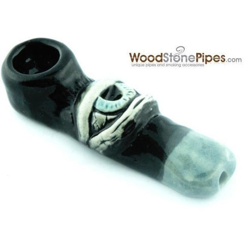 "3""  Unique Handmade Ceramic Pipe Large Eye Design - WoodStonePipes.com   - 4"