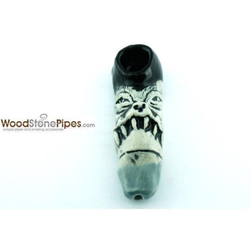 "3"" Unique Handmade Ceramic Pipe Tooth Frown Design - WoodStonePipes.com   - 1"