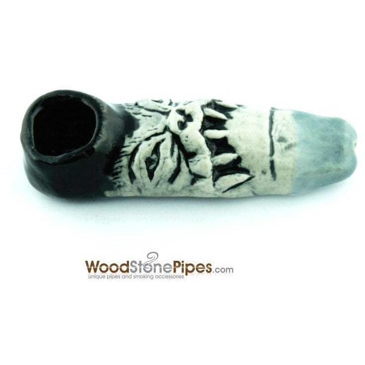 "3"" Unique Handmade Ceramic Pipe Tooth Frown Design - WoodStonePipes.com   - 2"
