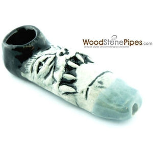 "3"" Unique Handmade Ceramic Pipe Tooth Frown Design - WoodStonePipes.com   - 4"
