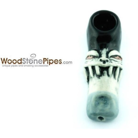 "3"" Unique Handmade Ceramic Pipe Tooth Grin Design - WoodStonePipes.com   - 1"
