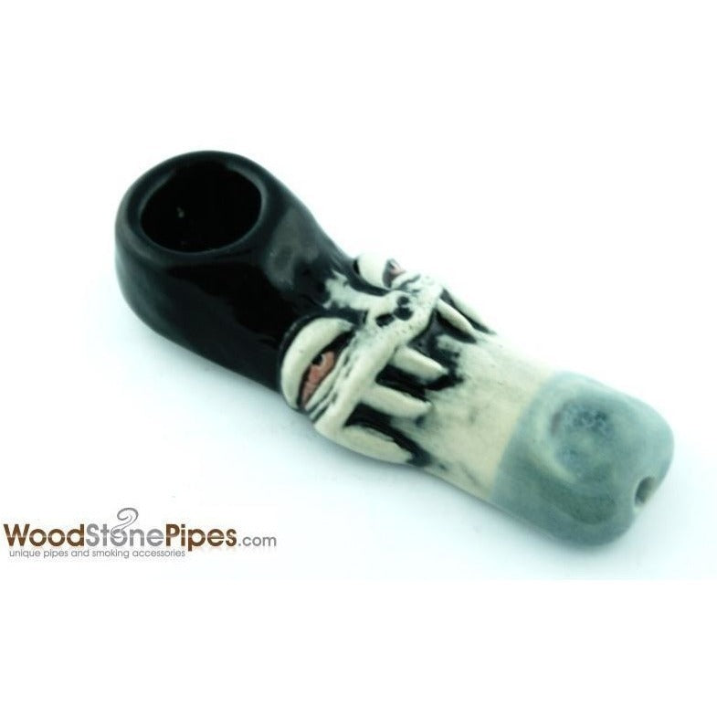 "3"" Unique Handmade Ceramic Pipe Tooth Grin Design - WoodStonePipes.com   - 2"