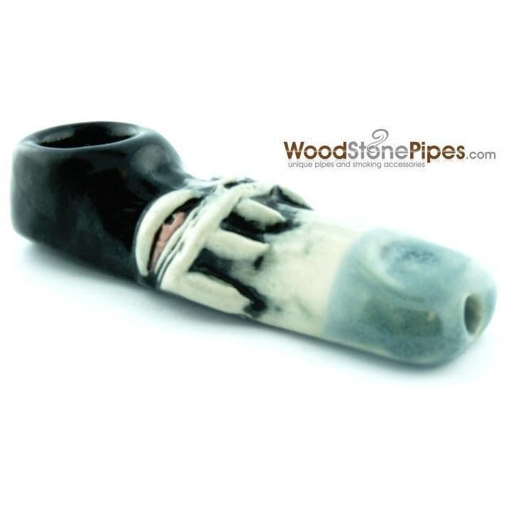 "3"" Unique Handmade Ceramic Pipe Tooth Grin Design - WoodStonePipes.com   - 3"
