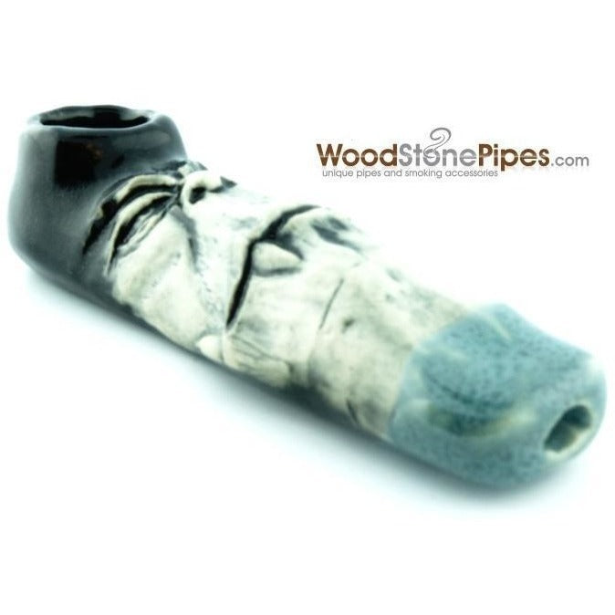 "4"" Unique Handmade Ceramic Pipe Big Tooth Design - WoodStonePipes.com   - 2"