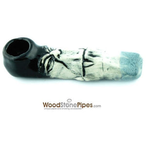 "4"" Unique Handmade Ceramic Pipe Big Tooth Design - WoodStonePipes.com   - 3"