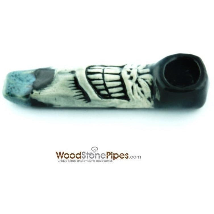 "Ceramic Hand Pipes - 4"" Unique Handmade Ceramic Pipe Grinner Design"