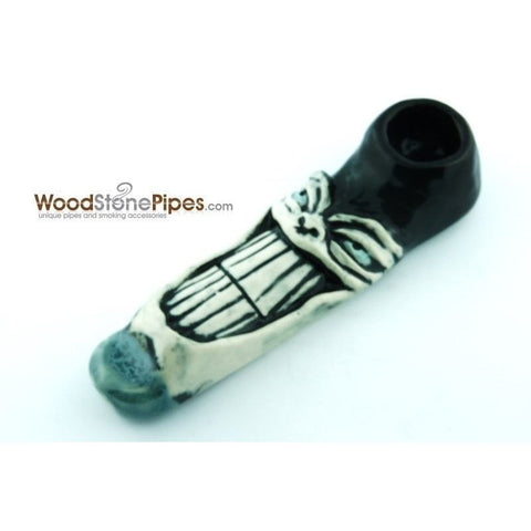"4"" Unique Handmade Ceramic Pipe Large Big Grin Design - WoodStonePipes.com   - 1"