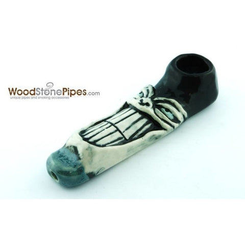 "4"" Unique Handmade Ceramic Pipe Large Big Grin Design - WoodStonePipes.com   - 3"