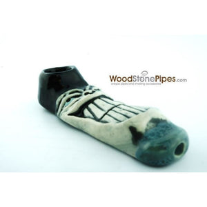 "4"" Unique Handmade Ceramic Pipe Large Big Grin Design - WoodStonePipes.com   - 4"