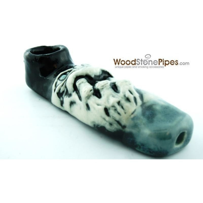 "4"" Unique Handmade Ceramic Pipe Nose Picker Design - WoodStonePipes.com   - 3"