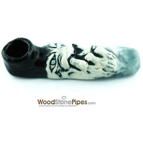 "4"" Unique Handmade Ceramic Pipe Nose Picker Design - WoodStonePipes.com   - 4"