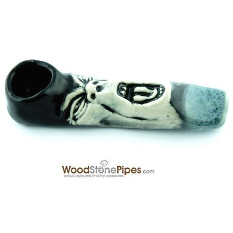"4"" Unique Handmade Ceramic Pipe Screamer Design - WoodStonePipes.com   - 2"
