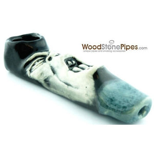 "4"" Unique Handmade Ceramic Pipe Screamer Design - WoodStonePipes.com   - 3"