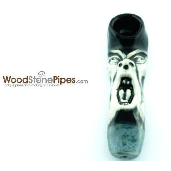"4"" Unique Handmade Ceramic Pipe Screamer Design - WoodStonePipes.com   - 4"