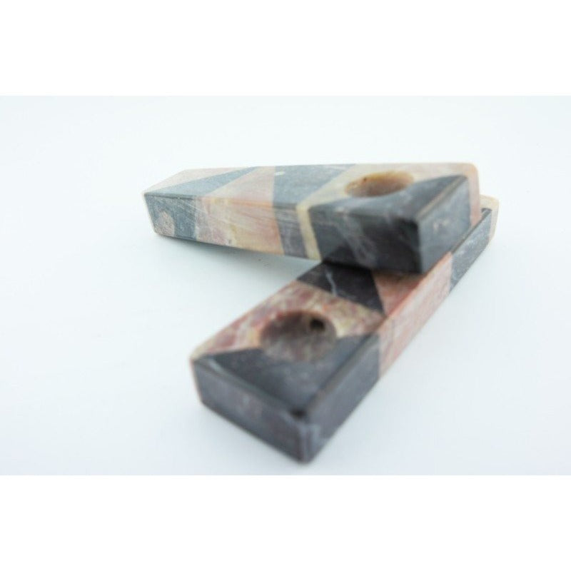 Set of 2 Soapstone Marble Stone Smoking Hand Pipes - WoodStonePipes.com   - 1