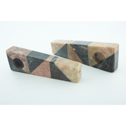 Set of 2 Soapstone Marble Stone Smoking Hand Pipes