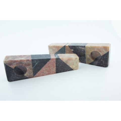 Set of 2 Soapstone Marble Stone Smoking Hand Pipes - WoodStonePipes.com   - 3