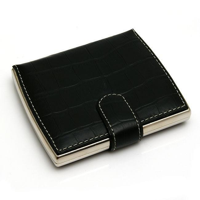 Black Textured Leather Cigarette Case - WoodStonePipes.com   - 1