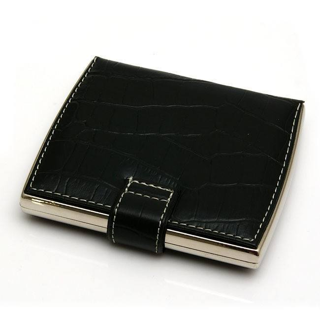 Black Textured Leather Cigarette Case - WoodStonePipes.com   - 2