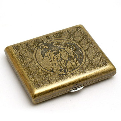 Carved Horse Head Solid Brass Cigarette Case - WoodStonePipes.com   - 1