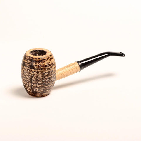 Country Gentleman Corn Cob Pipe - with Extra Large Barrel Shaped Bowl - Bent Bit