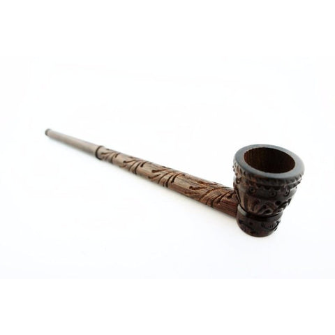Long Handmade Beautifully Carved Collectible Wood Smoking Tobacco Pipe - 7.5""