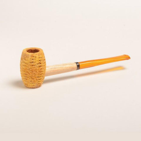 Huck Finn Corn Cob Pipe - with Amber and Black Bit