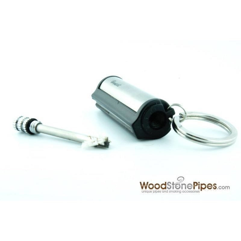 Silver Metal Cigarette Match Striker Lighter Keychain - WoodStonePipes.com   - 1