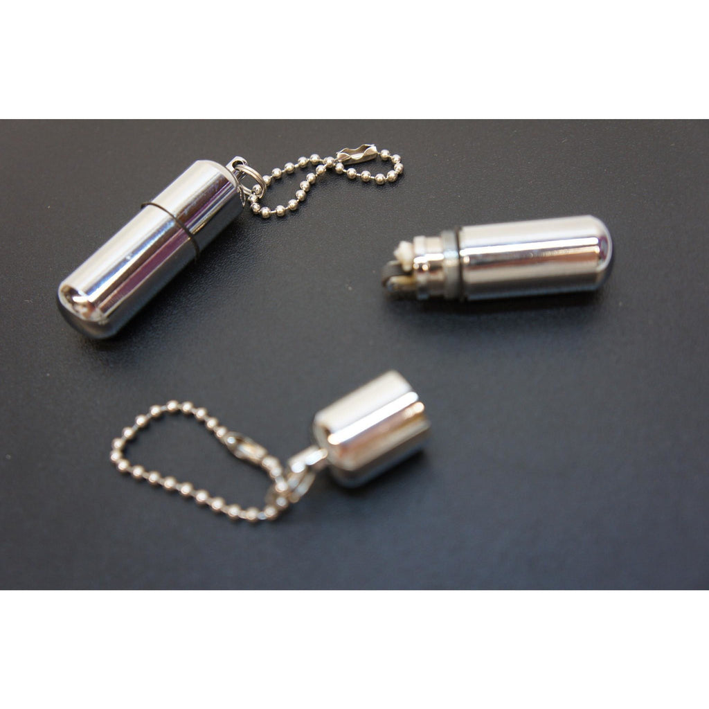 Survival Waterproof Cigarette Flint Lighter Silver - Mini Peanut Capsule Outdoor Oil Lighter - Fire Starter Key Chain Lighter - WoodStonePipes.com   - 2